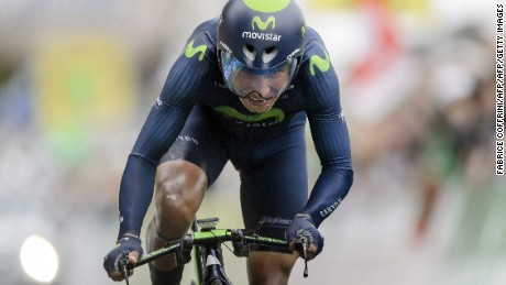Colombian Nairo Alexander Quintana Rojas ( Movistar) competes during the final stage of the Tour de Romandie UCI World Tour stage cycling road a 17.3 km individual time-trial race from Lausanne to Lausanne on May 3, 2015, in Lausanne. AFP PHOTO / FABRICE COFFRINI        (Photo credit should read FABRICE COFFRINI/AFP/Getty Images)
