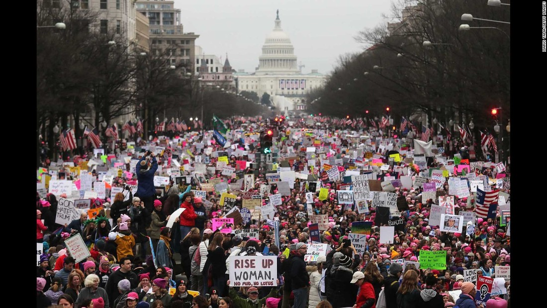"People participate in the Women's March on Washington on Saturday, January 21. More than 1 million people <a href=""http://www.cnn.com/2017/01/21/politics/womens-march-wrap/"" target=""_blank"">marched through Washington and other American cities</a> to show support for women's rights and express their discontent over the election of President Trump."