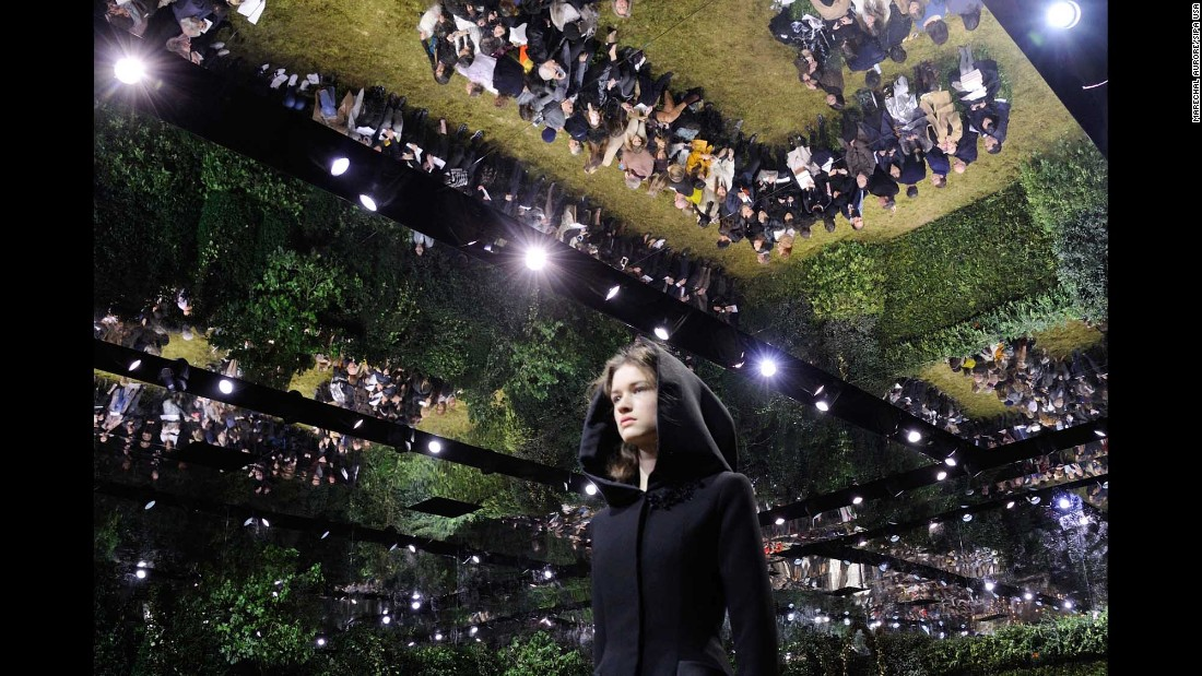 A model walks the runway Monday, January 23, during a Christian Dior show at Paris Fashion Week.