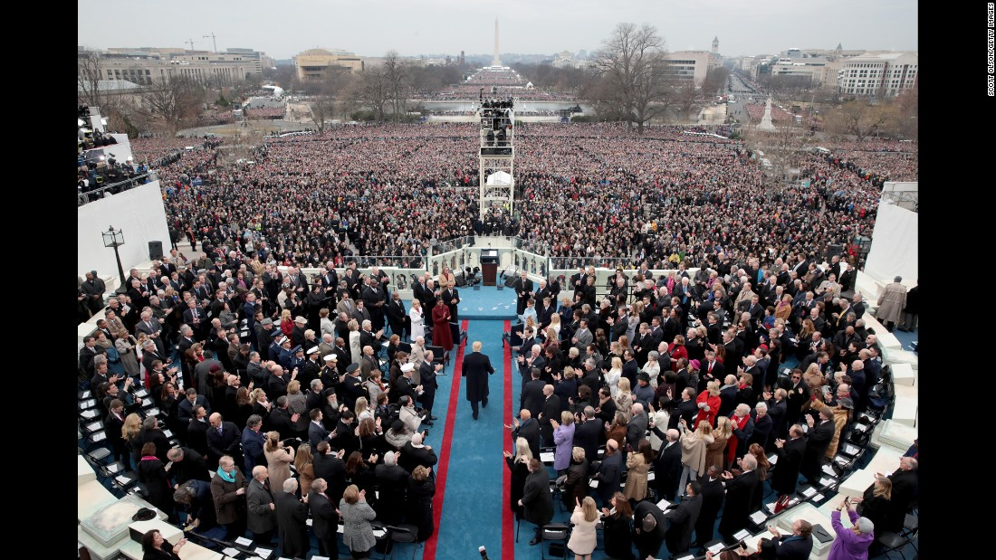 "President-elect Donald Trump arrives on the West Front of the US Capitol for his inauguration ceremony on Friday, January 20. <a href=""http://www.cnn.com/interactive/2017/01/politics/trump-inauguration-gigapixel/"" target=""_blank"">See a Gigapixel from the ceremony</a>"