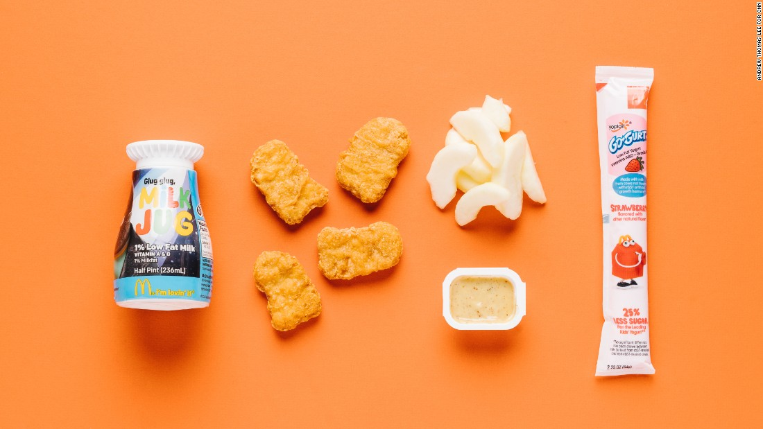 When it comes to kids' meals, you really can't go wrong with a Happy Meal with chicken McNuggets (four pieces), apple slices, a low-fat yogurt stick and low-fat milk. The apples and the yogurt stick are a welcome substitution for fries and nicely balance out the meal.