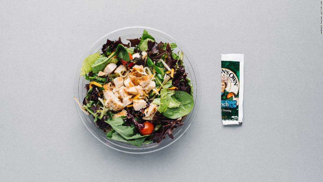 Order the bacon ranch grilled chicken salad and omit the bacon to lower the calories (from 320 to 230) and sodium (from 1,090 milligrams to 730 milligrams). Use only half the packet of ranch dressing to bring the salad total to 330 calories.