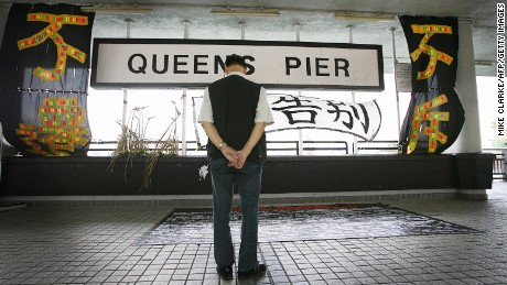 Queen's Pier in Hong Kong was controversially demolished in 2007 to make way for the construction of a major highway. Its parts are in storage and there are calls for it to be reassembled.