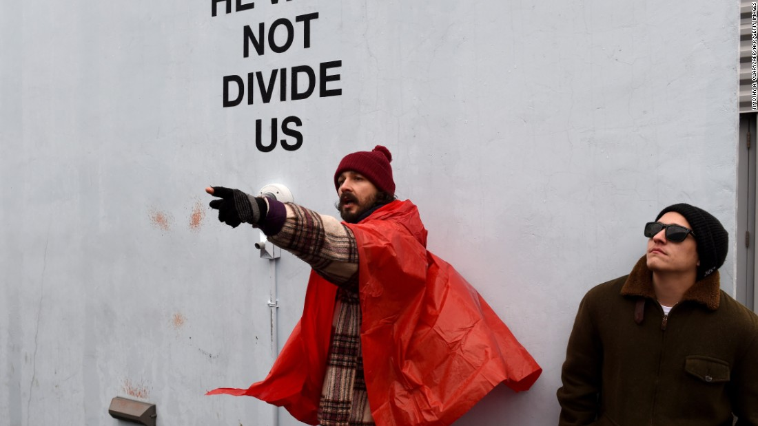 Shia LaBeouf arrested at his anti-Trump art installation