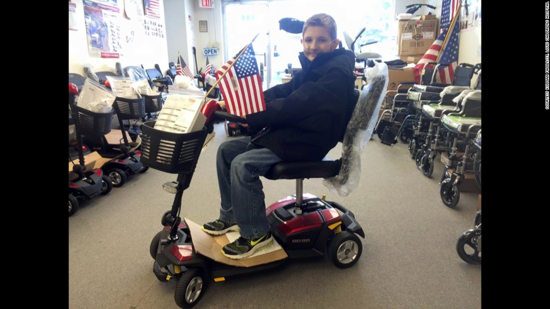 February<strong> </strong>2016:  Spencer in ninth grade at a medical supply store in Chicago. He had just got this scooter, which he used to get to class during high school.