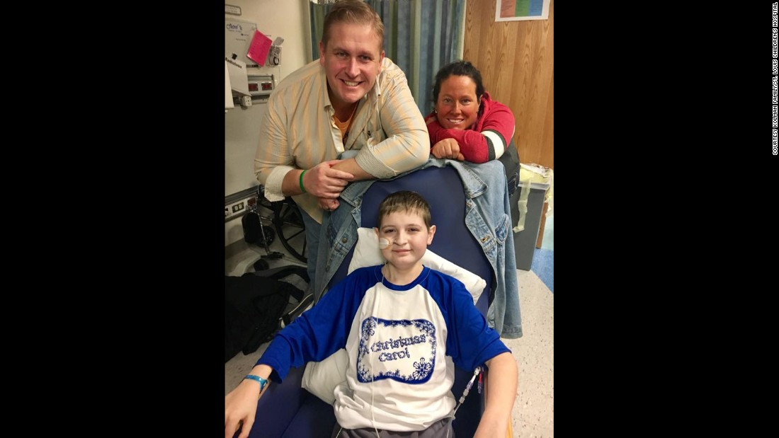 December<strong> </strong>2016:  Spencer with his parents Ken and Liz Kolman at St. Louis Children's Hospital a few weeks after his transplant.