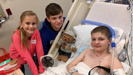 November 2016.  Pre-transplant. Spencer at St. Louis Children's Hospital with his brother Zach Kolman (16 years old) and his sister Evangeline Kolman (7 years old).