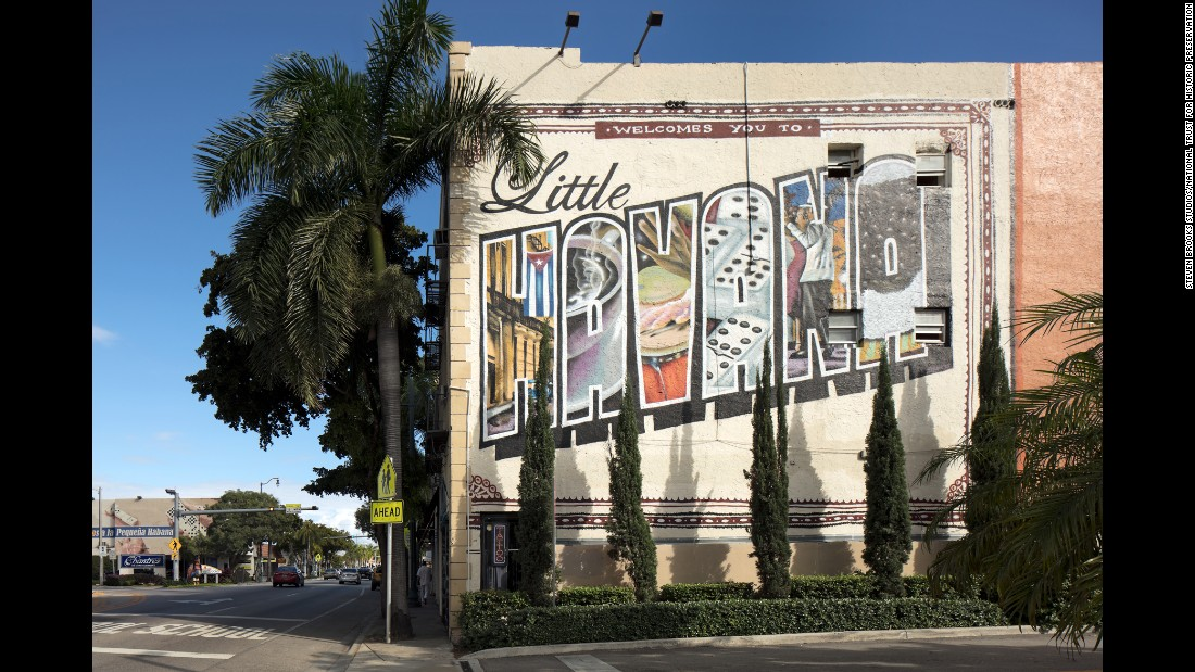 "This Little Havana ""welcome"" mural on Calle Ocho can be found on postcards and other souvenirs."