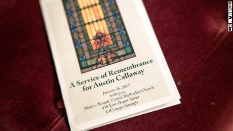 A program for the remembrance of Austin Callaway, an African-American man murdered by white vigilantes in LaGrange, Georgia in 1940.