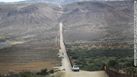 JACAMBA HOT SPRINGS, CA - SEPTEMBER 26:    A U.S. Border Patrol vehicle stands guard along the U.S.-Mexico border fence on September 26, 2016 in Jacamba Hot Springs, California.   (Photo by John Moore/Getty Images)