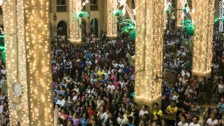 Churchgoers attending the Simbang Gabi (Dawn Mass) mass at the Redemptorist church presided over by Catholic Priest Fr. Amado Picardal in Paranaque City  Thursday December 22, 2016.