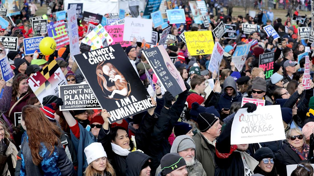 Thousands of people rally on the National Mall before the start of the march.