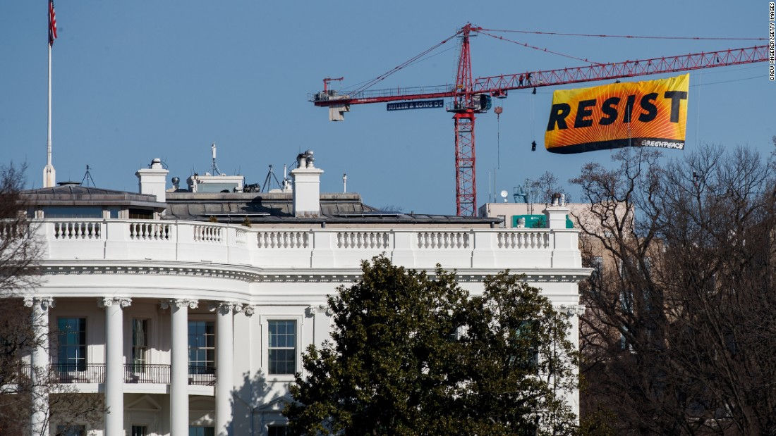 "Seven activists affiliated with the environmental organization Greenpeace climbed a construction crane near the White House and <a href=""http://www.cnn.com/2017/01/25/politics/greenpeace-resist-crane-white-house/"" target=""_blank"">unfurled a ""resist"" banner</a> to protest Donald Trump's presidency on Wednesday, January 25."