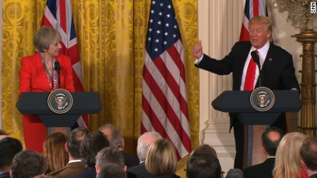 UK PM Theresa May and President Trump at a press conference