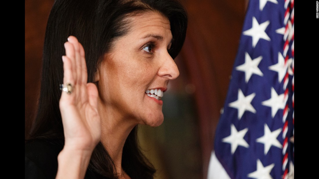"South Carolina Gov. Nikki Haley takes the oath of office as she becomes the US Ambassador to the United Nations on Wednesday, January 25. <a href=""http://www.cnn.com/2017/01/24/politics/nikki-haley-confirmation-vote-un-ambassador/"" target=""_blank"">She was approved</a> with wide bipartisan support, 96-4. <a href=""http://www.cnn.com/2017/01/10/politics/gallery/trump-cabinet-confirmation-hearings/index.html"" target=""_blank"">See all of Trump's nominees</a>"