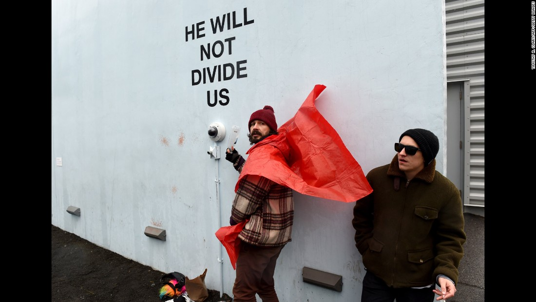 "Actor and performance artist Shia LaBeouf live-streams his Trump protest in New York on Tuesday, January 24. He was charged with misdemeanor assault and a harassment violation <a href=""http://www.cnn.com/2017/01/26/entertainment/shia-labeouf-arrested-trump-rally/index.html"" target=""_blank"">after getting in a scuffle</a> with an anti-Trump protester."