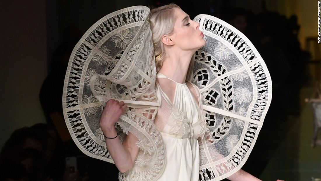 For one of his featured looks, Gaultier brought model Coco Rocha to the runway on a wheelbarrow.