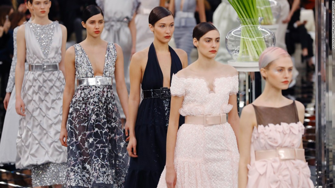 Lagerfeld's Chanel showcase featured a selection of celebrity models, including Bella Hadid.