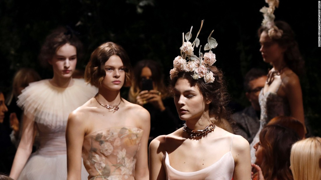 For her debut couture collection at Dior, Maria Grazia Chiuri showcased a series of whimsical gowns.