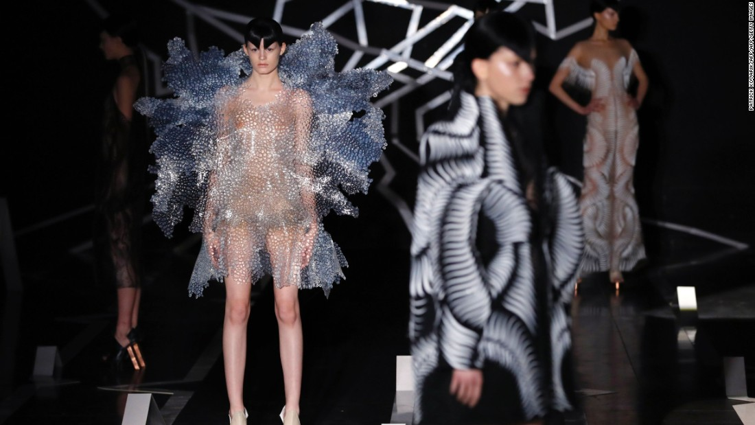 Her collection was designed on the computer, made from synthetic materials, and molded by hand.