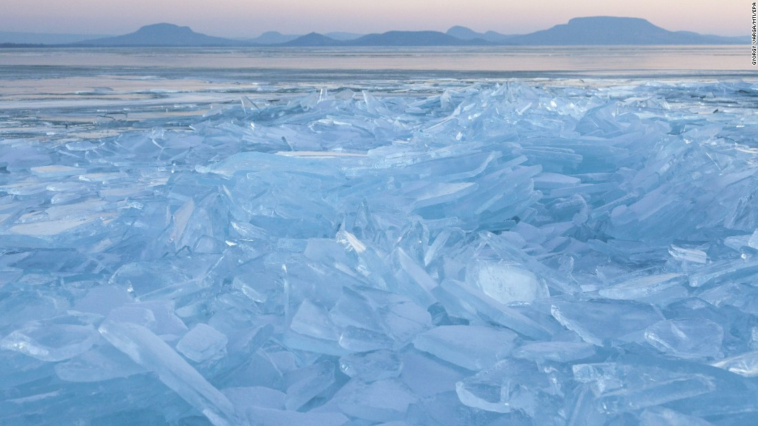 Broken ice piles up on the shore of Hungary's Lake Balaton on Saturday, January 7.