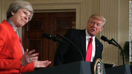 WASHINGTON, DC - JANUARY 27:  U.S. President Donald Trump (R) and British Prime Minister Theresa May (L) participate in a joint press conference at the East Room of the White House January 27, 2017 in Washington, DC. Prime Minister May is on a visit to the White House and had a bilateral meeting in the Oval Office with President Trump.  (Photo by Alex Wong/Getty Images)