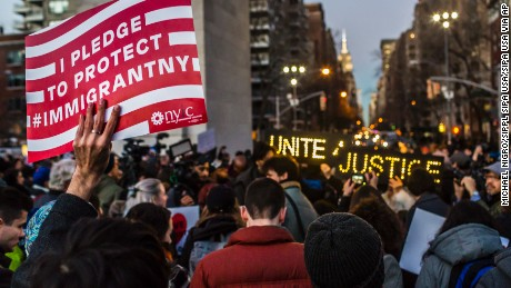Hundreds of New Yorkers rally in Washington Square Park, on January 25, 2017, voicing loud opposition to President Trump's executive order banning Muslims from certain countries from traveling to the U.S. (Photo by Michael Nigro) *** Please Use Credit from Credit Field ***(Sipa via AP Images)