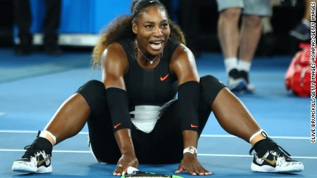 MELBOURNE, AUSTRALIA - JANUARY 28:  Serena Williams of the United States celebrates winning championship point in her Women's Singles Final match against Venus Williams of the United States on day 13 of the 2017 Australian Open at Melbourne Park on January 28, 2017 in Melbourne, Australia.  (Photo by Clive Brunskill/Getty Images)