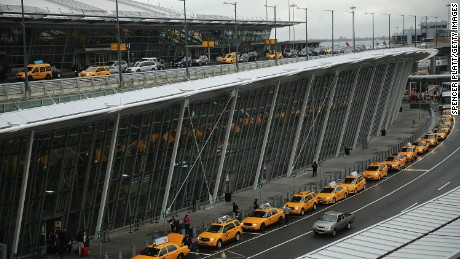 The international arrivals terminal is viewed at New York's John F. Kennedy Airport  (JFK ) airport on October 11, 2014 in New York City.