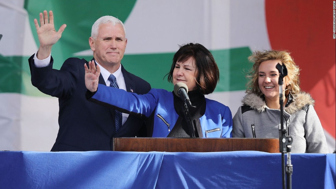 Vice President Mike Pence, his wife, Karen, and their daughter Charlotte arrive for a rally on the National Mall before the start of the 44th annual March for Life on January 27, 2017, in Washington, DC.
