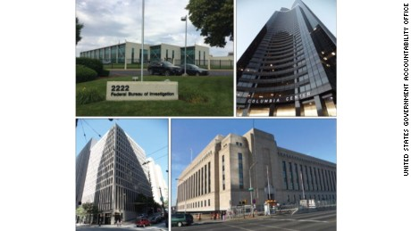 Clockwise from upper left corner: An an FBI field office in St. Louis; Social Security Administration and GAO space at the Columbia Center in Seattle; Treasury Department- IRS, Treasury Department- Inspector General for Tax Administration, DHS - National Protection and Programs Directorate space in Philadelphia; an FBI field office in Seattle -- all in foreign-owned buildings.