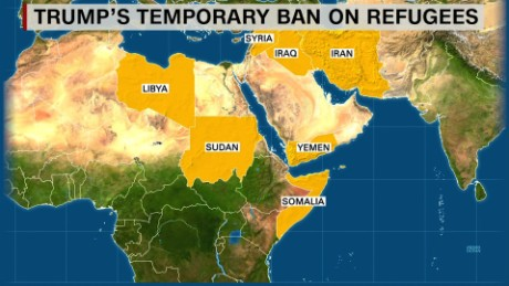 President Donald Trump has banned entry into the US for citizens from Syria, Iraq, Iran, Yemen, Libya, Somalia and Sudan.
