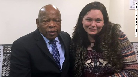 Rep. John Lewis with Atlanta immigration attorney Sarah Owings at Hartsfield Jackson Atlanta International Airport on the day after the intial travel ban on January 27.