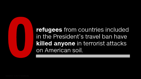 How many fatal terror attacks have refugees carried out in the US? None