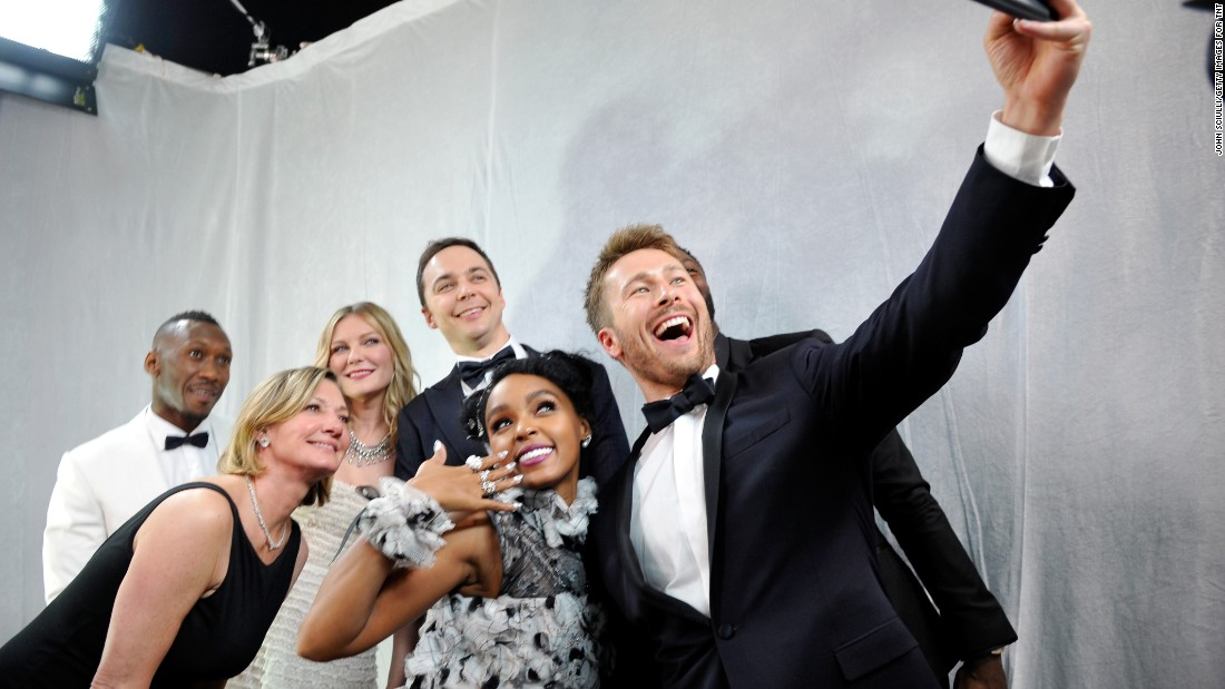 "Cast members from ""Hidden Figures"" take a selfie together. They won Outstanding Performance by a Cast in a Motion Picture."