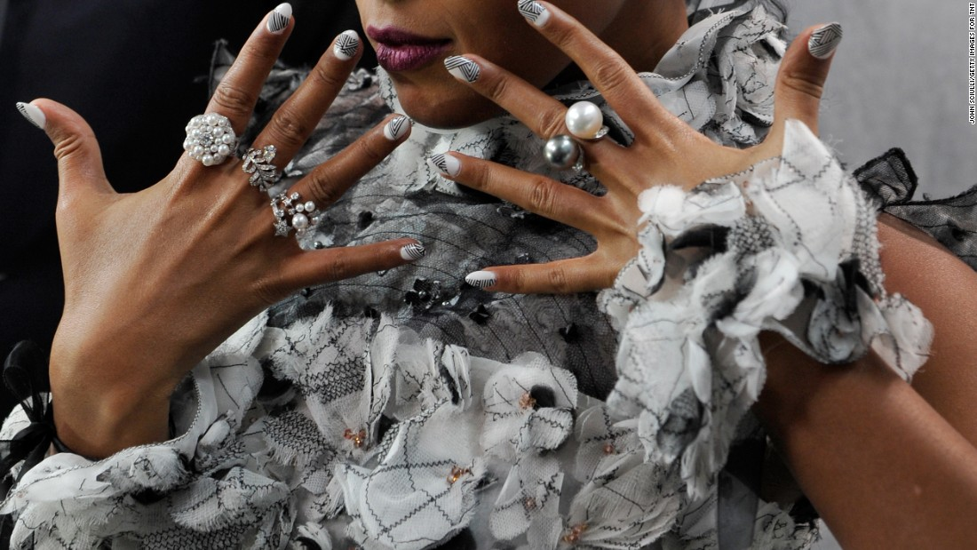 A close-up of Janelle Monae's jewelry.