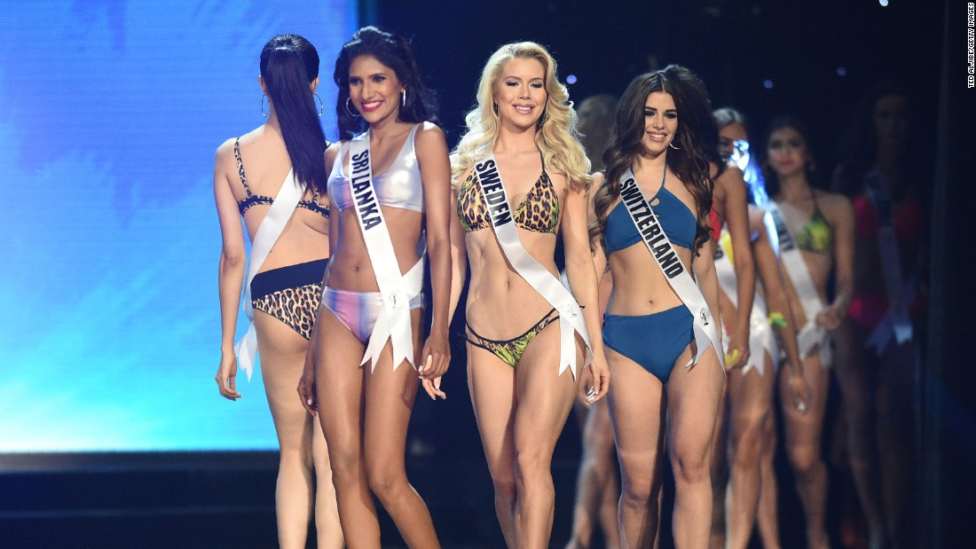 Miss Universe contestants in their swimsuits during the preliminary competition.
