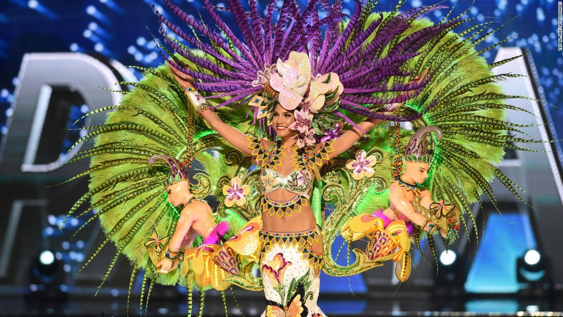 Miss Universe Keity Drenan of Panama during the national costume presentation in the preliminary competition of the Miss Universe pageant.