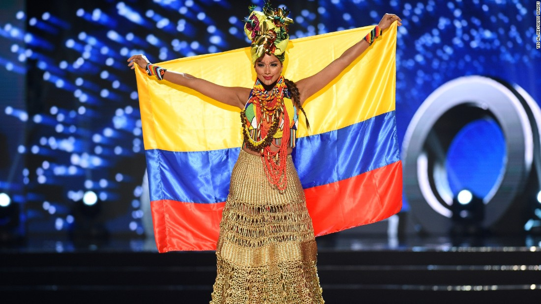 Miss Universe contestant Andrea Tovar of Colombia presents during the national costume and preliminary competition.