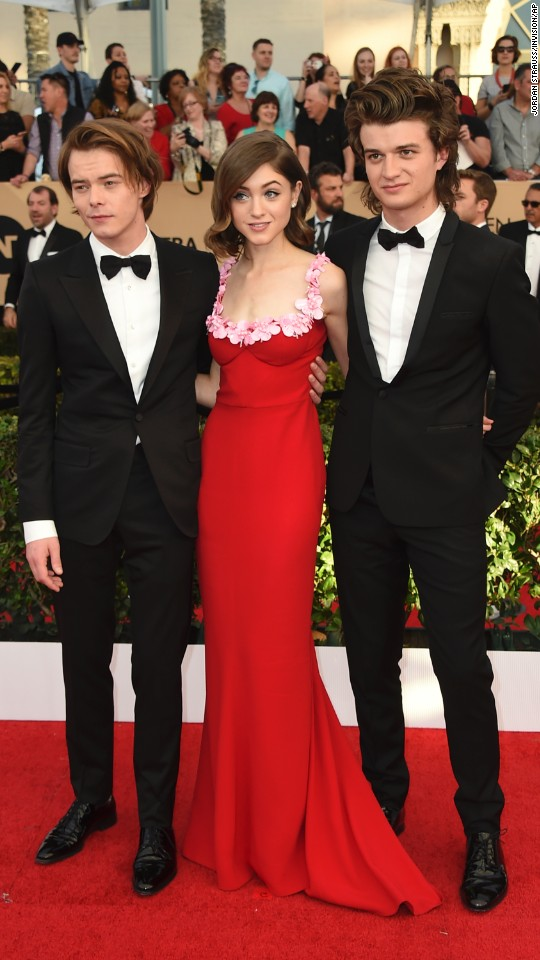 From left, Charlie Heaton, Natalia Dyer and Joe Keery