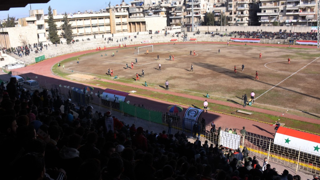"""But now look at the stadium, it's a few hundred people,"" added Thaer. ""Before the revolution we supported Al-Ittihad because they were our team in Aleppo."""