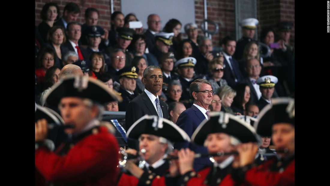 Then-US President Barack Obama stands with Defense Secretary Ashton Carter during a farewell ceremony in Arlington, Virginia, on Wednesday, January 4.