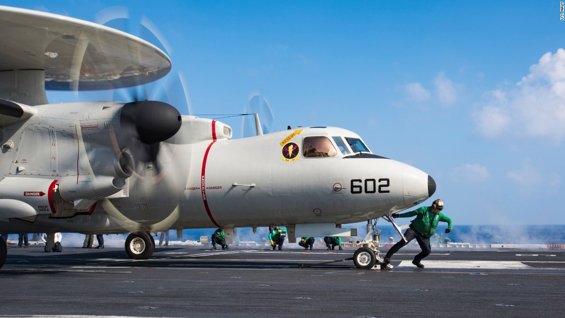 An E-2C Hawkeye prepares to take off from the USS Carl Vinson on Friday, January 13.