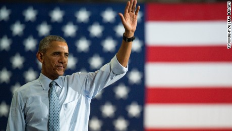 COLUMBUS, OH - NOVEMBER 01:  President Barack Obama waves to the crowd after speaking during a campaign event for Hillary Clinton at Capital University on November 1, 2016 in Columbus, Ohio. President Obama was stressing to the crowd the importance to vote with the presidential race so close, between Clinton and Trump, only one week before election day. (Photo by Ty Wright/Getty Images)