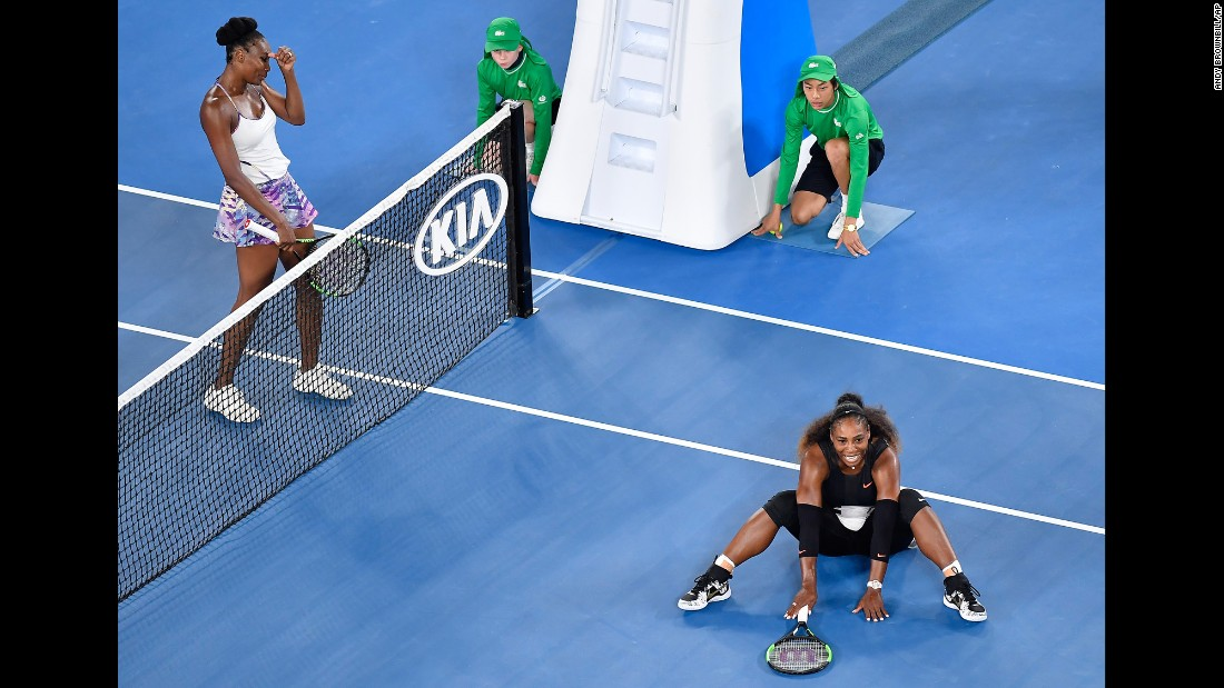 "Serena Williams, right, celebrates after defeating her sister Venus <a href=""http://www.cnn.com/2017/01/28/tennis/venus-williams-serena-williams-tennis-graf/"" target=""_blank"">to win her seventh Australian Open</a> on Saturday, January 28. Williams has now won 23 major titles, an Open-era record."