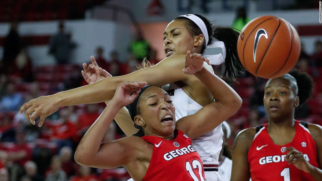 South Carolina's Doniyah Cliney battles Georgia's Haley Clark for a rebound during a college basketball game in Athens, Georgia, on Thursday, January 26.