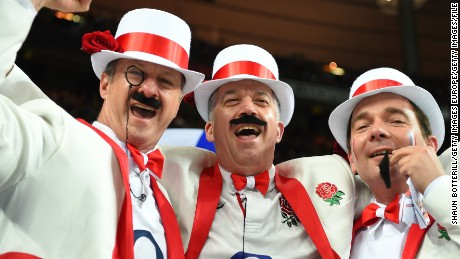 PARIS, FRANCE - MARCH 19:  England fans enjoy the pre match atmosphere during the RBS Six Nations match between France and England at the Stade de France on March 19, 2016 in Paris, France.  (Photo by Shaun Botterill/Getty Images)