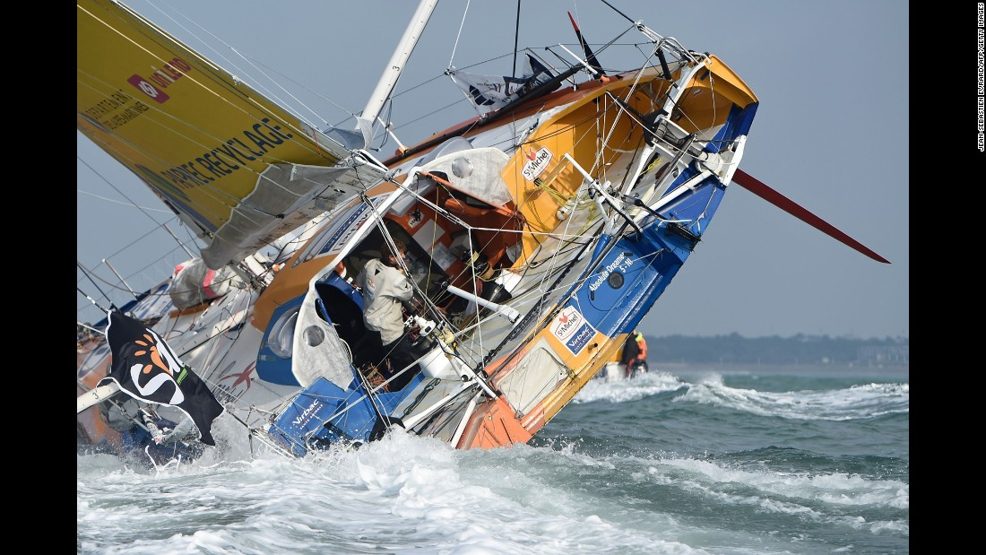 Jean-Pierre Dick finishes fourth in the Vendee Globe, a solo round-the-world sailing race, on Wednesday, January 25.