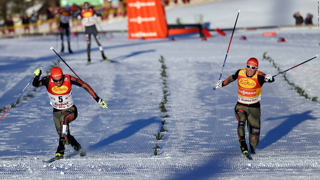 Germany's Johannes Rydzek, left, edges his countryman, Eric Frenzel, during a Nordic combined race in Seefeld, Austria, on Friday, January 27.