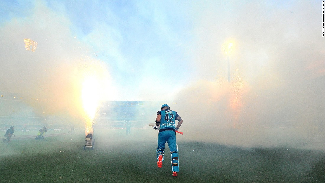 Brendon McCullum, a cricket player with the Brisbane Heat, enters the field of play before a Big Bash League semifinal match in Brisbane, Australia, on Wednesday, January 25.